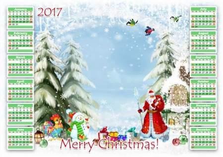 Christmas Calendar frame psd 2017