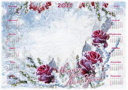 Free 2017 Winter Calendar psd  with beautiful roses -  Happy New Year