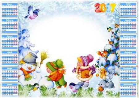Children winter Calendar frame psd for 2017