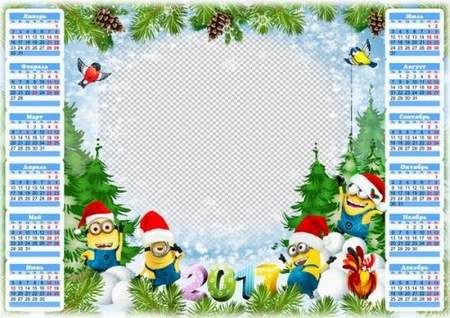 2017 New Year Calendar frame with Minions