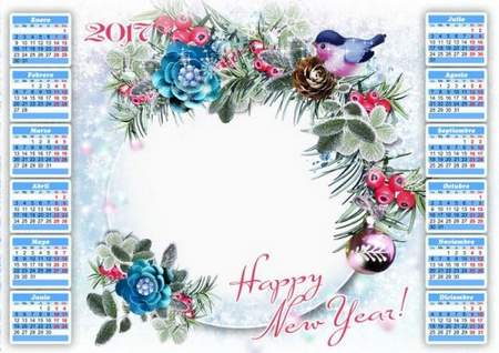 2017 New Year Calendar frame psd
