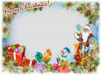 Greeting Christmas photo frame psd ( free frame psd, free download )
