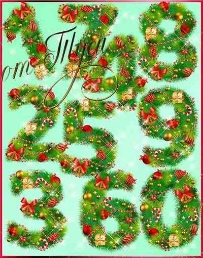 Christmas numbers clipart psd - ( free clipart psd, free download,  transparent background )