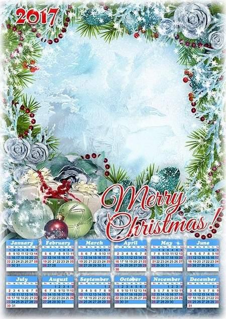 2017 Calendar frame psd - Merry Christmas