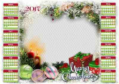 2017 psd Calendar frame Merry Christmas ( free psd file, free download )