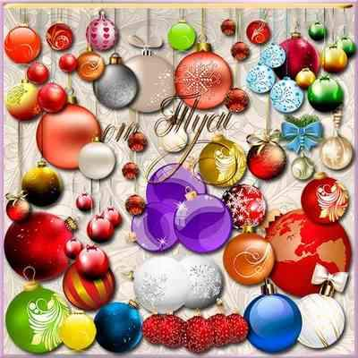 Clip Art psd Christmas balls download - Pleasing to the eye image of the New Year holiday