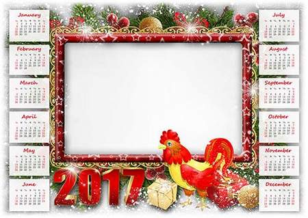 Calendar 2017 with photoframe for Photoshop - Year of the Rooster