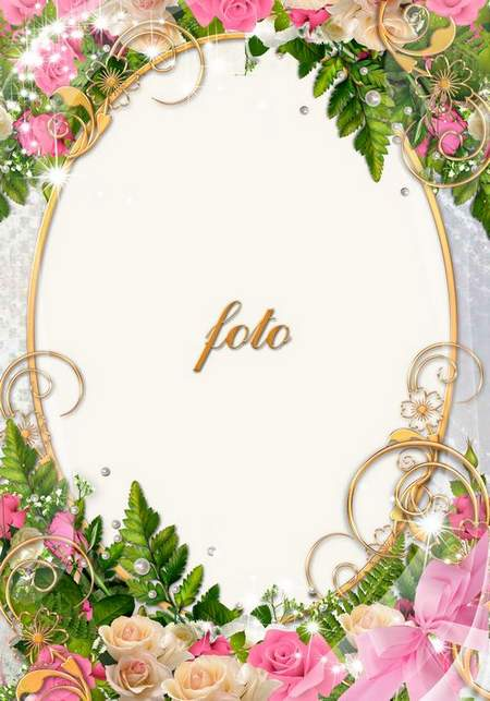 Flower greeting frame psd with white and pink roses