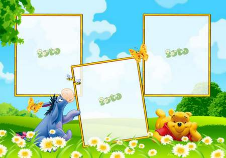 Children photo frames psd with Winnie the Pooh ( free frames psd, free download )
