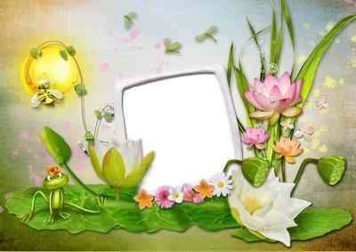 Baby Picture Frame png  - Frog in the village ( free frame png, free download )