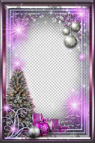 Christmas or New Year Frame psd - Purple Gloss ( free frame psd, free download )