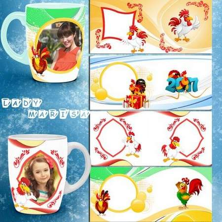Mug frames psd with Roosters