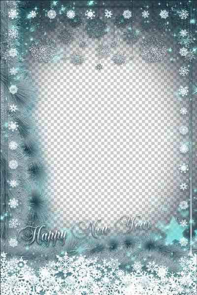New Year Frame psd - Fluffy Snowflakes ( free frame psd, free download )