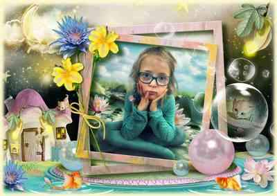 Kids Frame for photo Fantastic night at the magic pond (free frame psd + free frame png)