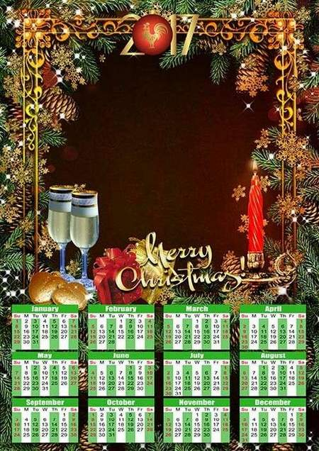Calendar psd 2017 for Photoshop - New Year candle