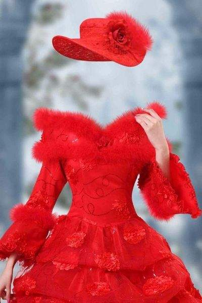 Lady in red dress with fur psd ( free psd file, free download )