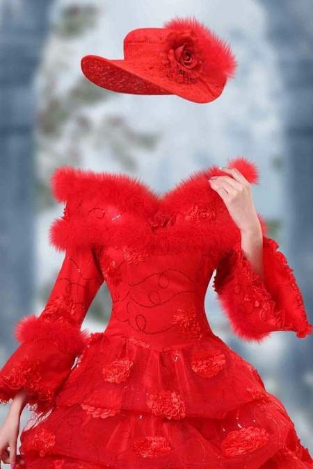 women in red dress with fur psd
