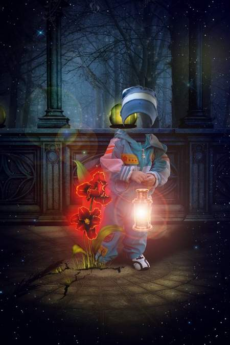 Children psd Template for Photoshop - Red flower