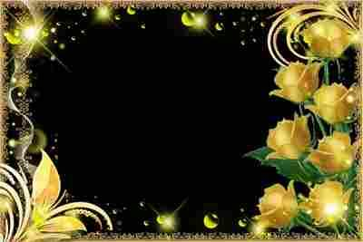 Flower Frame for foto - Golden Roses (free frame psd + free frame png)