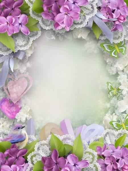 Flower frame psd - Touching moment