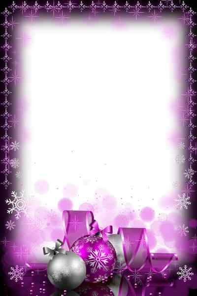 Picture frame - purple Christmas decorations ( free photo frame psd + free photo frame png)