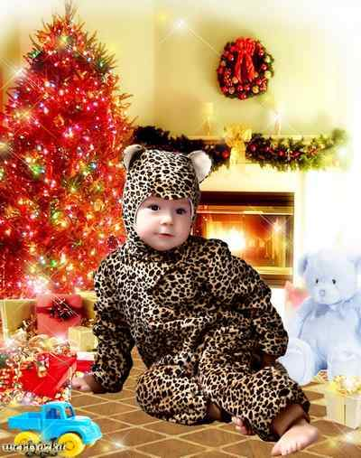 New-year child's psd template - Kid in the suit of leopard