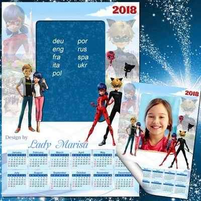 2017 and 2018 Calendar psd with cartoon characters Miraculous Ladybug ( free Calendar psd, free download )