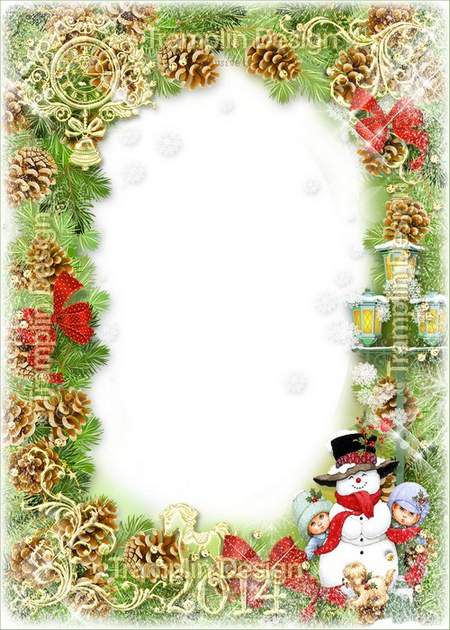 The New Year frame with snowmen