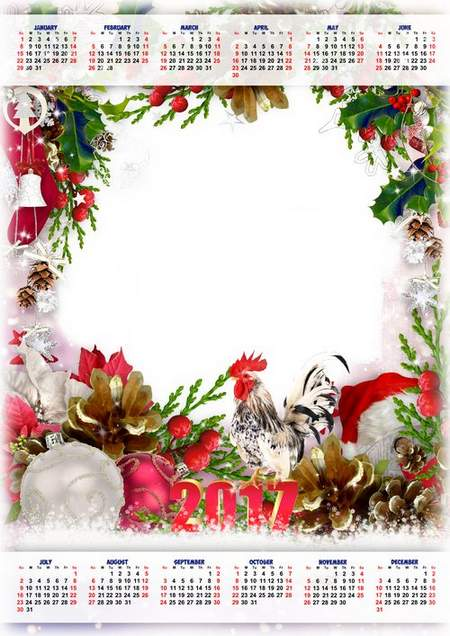 New Year Rooster - 2017 Calendar frame psd for Photoshop