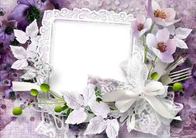 Flower frame for photoshop - Pink flowers ( free frame png, free download )