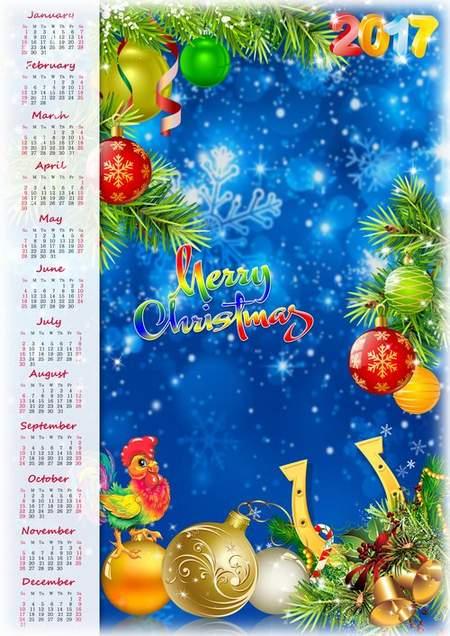 Merry Christmas! Calendar 2017 psd for Photoshop