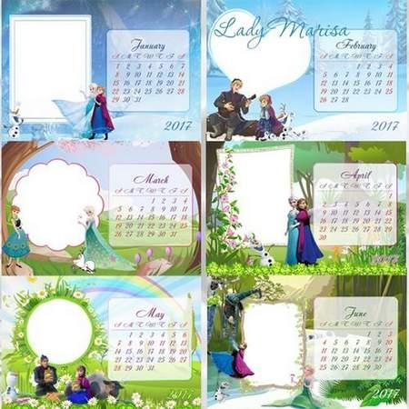 2017 Frozen Loose-leaf calendar psd