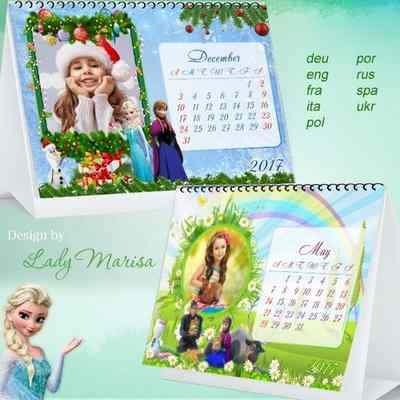 2017 Frozen Loose-leaf calendar psd ( free Calendar 12 psd files, free download )