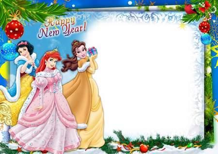 new year disney princess kids photo frame free photo frame psd - Disney Frame