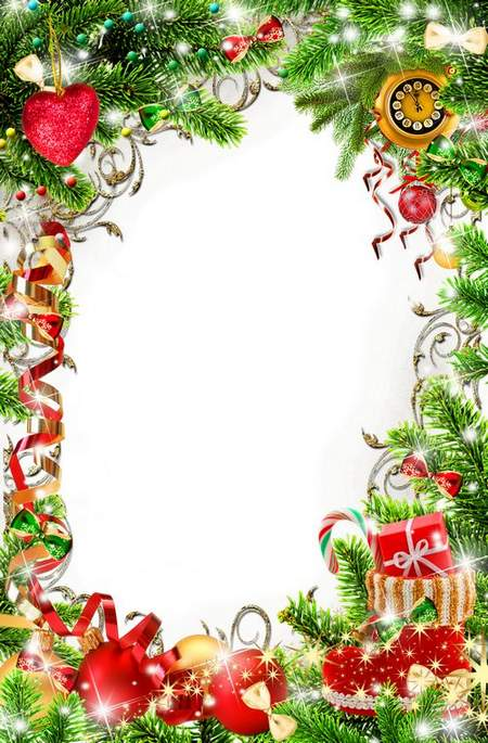 Christmas Tinsel Transparent Background.Bright Christmas Frame For Photo Processing Christmas