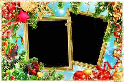 Festive frame for decoration of Christmas photo - The long-awaited celebration