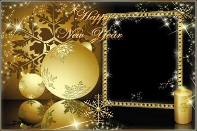Photoframe - Golden Christmas balls ( free photo frame psd, free download )