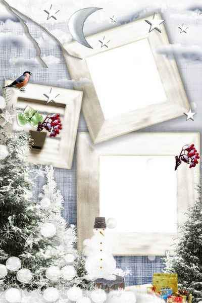 Frame for photo psd - Winter evening ( free photo frame psd, free download )