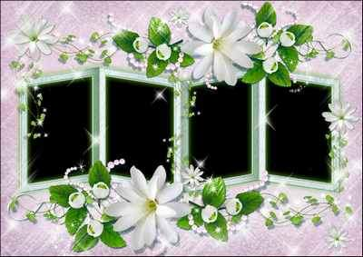 Free png Frame for photoshop - White flowers ( free flower photo frame png, free download )