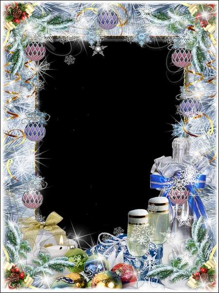 New year frame - Whirling snowflakes