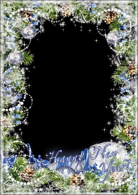 Greeting New Year photo frame - White blizzard