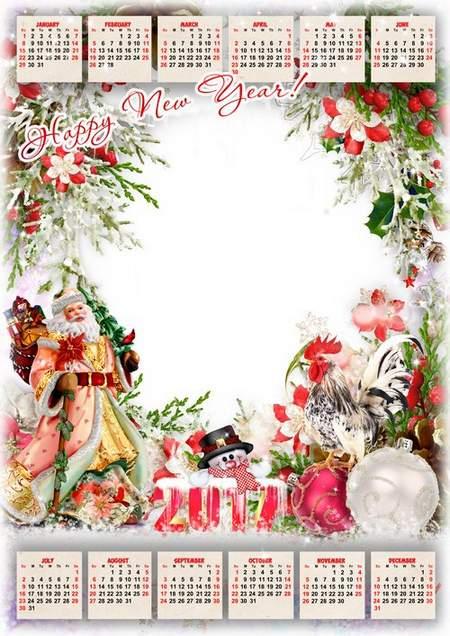 2017 Calendar psd template for Photoshop with Santa Claus