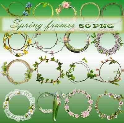 Spring png frames for Photoshop ( free 50 frames png, free download )
