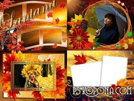 PSD frames for photoshop - Autumn Gold ( free 4 Autumn photo frames psd, free download )