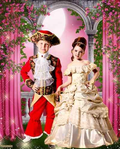 Multi-layered pair child's psd template - Prince and princess among wonderful roses