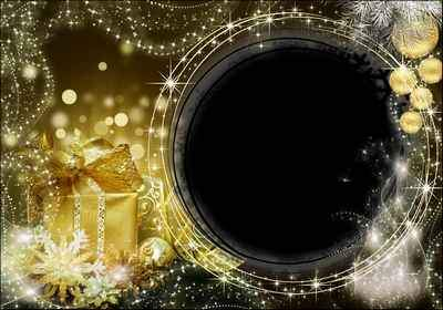 New year's graceful frame with a dark background and a golden gift box - Festive Lights