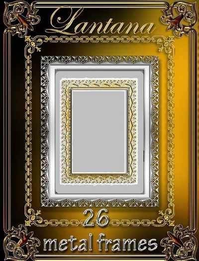 Collection frames png for photoshop - Metallic glitter ( free 26 frames png, free download )