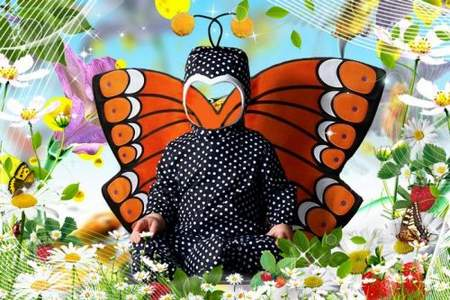 Children's template  for Photoshop - Little Butterfly