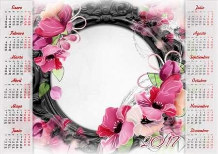 2017 Flower Calendar frame psd