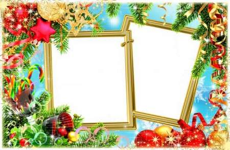 Festive frame for decoration of Christmas photo